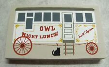 Cat's Meow Wood  OWL NIGHT LUNCH Wagon  Signed: Faline 1994