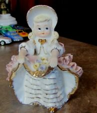 Vintage Lovely Geo. Lefton Bloomer Parasol Pink Girl Figurines Porcelain Kw 1698