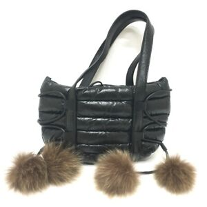 MONCLER Porter collaboration Hand Bag Fur bonbon Tote Bag Leather Black