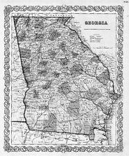 1855 GA MAP BEN HILL BERRIEN BIBB BLECKLEY BROOKS BRYAN BULLOCH BURKE COUNTY big