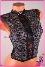 Victoria's Secret Lingerie Corset Bustier High Neck Floral Lace Mesh Black 34C