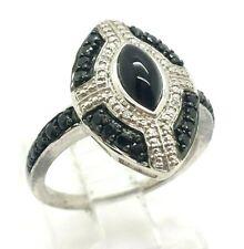Black Onyx CZ QVC  Sterling Silver 925 Ring 4g Sz.7.25 BOB808