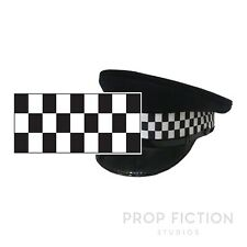 Police Cap Dice Chequered Banding / 1M Black & White Check Sillitoe Hat Ribbon