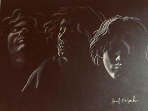 """Vintage Josef M. Kozak Original Art """"Portraits of 3 Men"""" Drawing Unframed Signed"""