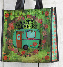 Recycled, Reusable  medium size HAPPY CAMPER cute gift bag. natural life .