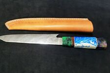 damascus handmade chef knife 12 inches resin handle with sheath