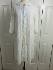 Vtg Miss Elaine Sz M/L All Over White Lace Nylon Lined Short Robe
