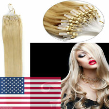 18Inch 100S Micro Ring Beads Loop Tip Remy Human Hair Extensions Golden Blonde