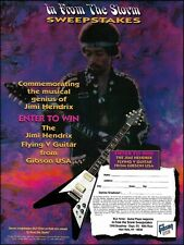 The Jimi Hendrix Gibson Flying V Guitar 1996 Sweepstakes contest entry form ad