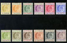 Cyprus 1904 KEVII set complete MLH. SG 60-71. Sc 48-59.