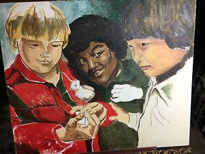 Wonderful 1970's Oil on Canvas Featuring Ethnically Diverse Boys Holding a Bird