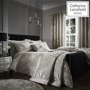 Catherine Lansfield Crushed Velvet Natural Duvet Set Reversible Bedding Spread