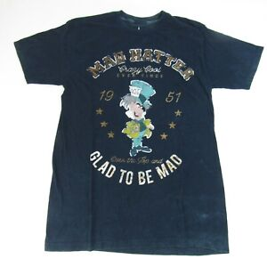 Mad Hatter Disney Parks T-Shirt Men's S Faded Blue Small Distressed Glad To Be