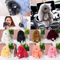 Bunny Rex Rabbit Fur Car Handbag Keychain Pom Doll Ball Key Chain Pendant Lot