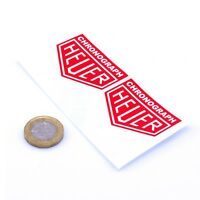 Heuer Chronograph Red Stickers Classic Racing Vinyl Decals 50mm x2 F1 Rally