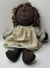 """Vintage African American Rag Doll 17"""" stiched face cloth doll"""