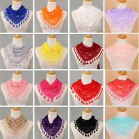 Fashion Women's Ladies Lace Tassel Sheer Veil Church Scarf Shawl Wraps Scarves