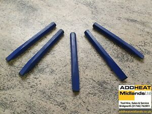 """COLD CHISEL 1"""" X 8"""" 25MM × 200MM DROP FORGED STEEL HEXAGONAL SHAFT POWDER COATED"""