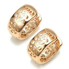 18k Yellow Gold Filled Womens Earrings 14mm Newest Hoop Huggie Charms Jewelry