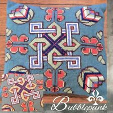 Folkloric Vintage Scandinavian Nordic Wool Needlepoint Pillow Viking Knot Floral