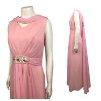 1960s Pink Chiffon Maxi Dress / Sleeveless Jeweled Long Party Dress / Medium