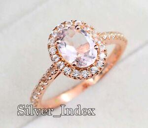 14K Solid Rose Gold Plating Natural Morganite Gemstone Engagement Ring For Women