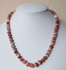 Edelsteinkette Rot Achat Collier 7 - 8 mm Perlen  45cm Halskette