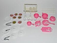 Barbie de cocina Accesorios plato cubiertos ollas cocina 80er 90er años vintage mattel a