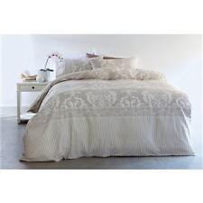 Double Bed Regal Damask Print Natural Beige Quilt / Doona Cover Pillowcase Set