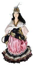 Porcelain art doll Gypsy woman with tambourine 19th century Bessarabia. Handmade