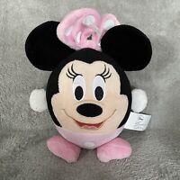 "Disney 8"" Minnie Mouse Round Pink Black Plush Stuffed Animal Toy"