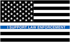 PAIR OF I SUPPORT LAW ENFORCEMENT POLICE BLUE LINE FLAG VINYL DECALS FOR CAR NEW