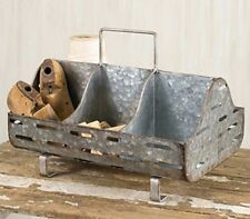 Weathered Galvanized Feed Trough Caddy Vintage Farmhouse Kitchen Patio 6 Cubby.
