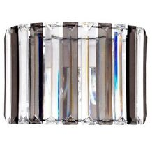 Art Deco Style Stripe Smoke Grey Clear Prism Pendant Drum Ceiling Light Shade
