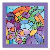 Melissa & Doug Stained Glass See-Through Window Art Kit: Rainbow Garden - 80+ St