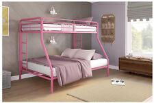 Bunk Beds Twin Over Full Pink Metal Ladder Teens Kids Dorm Bedroom Furniture New