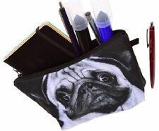 PUG BLACK WHITE DOG TRAVEL MAKE UP COSMETICS BAG PENCIL CASE CUTE 2-SIDED MAKEUP