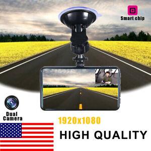 "Dual Lens 4"" Touch Car DVR Dashboard 1080P HD Dash Cam Video Recorder Camera US"