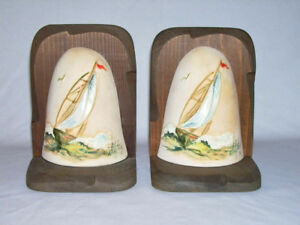 Vntge Handcrafted Wooden BOOKENDS w/Painted Ceramic Sailboat Scenes (Stefan DE)