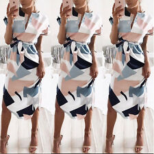 Donna abito lungo vestito casual estivo manica corta da sera elegante party 2017
