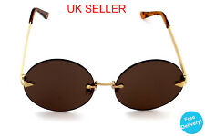 Brown Round Circle Festival Vintage Boho Retro 70s style Hippy Lennon Sunglasses