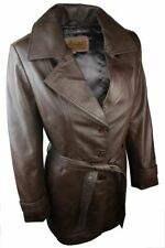 Ladies Women Real Leather Mid Length Blazer Style Retro Jacket