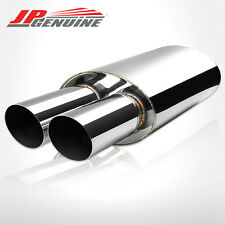 """3"""" DUAL SLANT TIP 3"""" INLET OVAL STAINLESS STEEL MUFFLER FIT UNIVERSAL"""