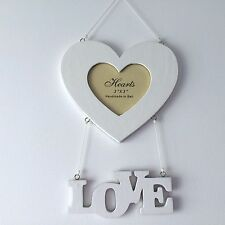 NEW WHITE WOOD SHABBY CHIC PHOTO FRAME LOVE HANGING WALL DECORATION WOODEN
