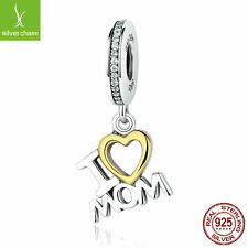 """925 Sterling Silver """"I LOVE MOM"""" Dangle Charm With 18k Gold Love Fit Women Gifts"""