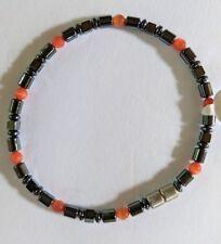 """Magnetic Hematite Healing Womens Red/Orange Crystal Bead Bracelet 7"""""""
