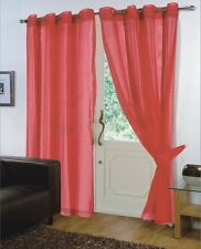 PAIR - VOILE NET PANELS EYELET / RING TOP 59'' X 90'' CURTAINS - RED
