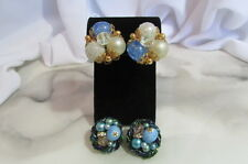 Blue AB Faux Pearls Beads Clip Lot of Two Earrings