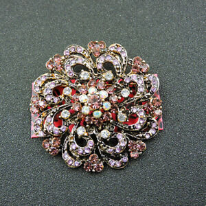 Betsey Johnson Purple Crystal Flower Charm Woman Jewelry Brooch Pin Gift