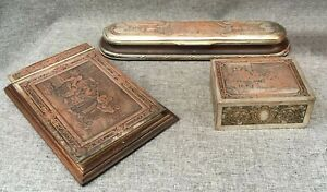 Antique French office set boxes lot early 1900's wood copper brass silver plate